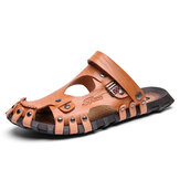 Men Genuine Leather Sandals Casual Two-ways Breathable Slippers