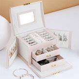 Jewelry Box Large Capacity Leather Storage Jewelry Box Earring Ring Necklace with Mirror Watch Jewelry Organizer