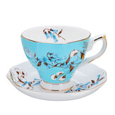 Porseleinen mode British Bone China Cafe Cup Set schotel keramische bloem thee set