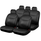 12PCS PVC Leather Car Seat Cover Full Set Front Rear Seat Cushion Mat with Zipper