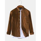 Men Thin Corduroy Button Decoration Vintage Shirts