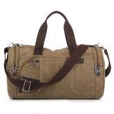 Men Canvas Casual Travel Outdoor Big Khaki Coffee Handbag Crossbody Bag