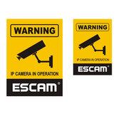 2Pcs / Lot ESCAM 12x18cm 10x14.5cm Monitorando a câmera de segurança CCTV impermeável placa de aviso adesivo