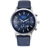NORTH 6009 Relógio de Quartzo Masculino na Moda Relógio de Pulso Correia de coulo Mostrador Pequeno Decorativo