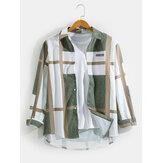 رجالي هندسي الرسومات طباعة طية صدر السترة تنحنح منحني قمصان طويلة الأكمام عارضة