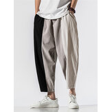 Mens 100% Cotton Patchwork Solid Elastic Waist Pants