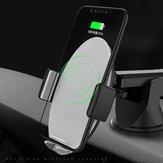 Bakeey™10WQiCaricaveloce senza fili Smart Auto serratura Supporto per telefono cruscotto dell'automobile per iPhone X 8