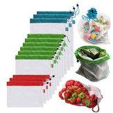 5Unids Bolsa de Almacenamiento de MallaReutilizable Para Compras de Frutas Verduras