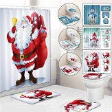 Conjunto de cortinas de chuveiro de Natal Boneco de neve Santa Tapetes antiderrapantes Tampa de banheiro e tapete de banho Cortinas à prova d'água Banheiro para decoração de casa