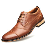 Men Stitching Comfy Non Slip Lace Up Business Casual Formal Shoes