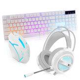 3 Adet Oyun Klavye & Mouse Kulaklık Combo 104 Tuşlar RGB Arkadan Aydınlatmalı Su Geçirmez Mekanik Duygu Klavye Ergonomik Mouse USB Kablolu LED Bilgisayar Oyun Ev Ofis için Mikrofon ile PC Oyun Kulaklığı