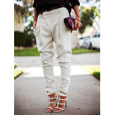 Casual Solid color Pocket high waist Foot pants