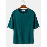 Einfarbige Kurzarm-Kurzarm-T-Shirts mit Rundhalsausschnitt für Herren aus Baumwolle