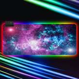 RGB Mouse Pad Soft Rubber Anti-slip USB Powered Starry Sky LED Glowing Gaming Keyboard Pad Desktop Protective Mat for Home Office