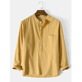 Mens 100% algodão básico cor sólida manga longa Henley Camisa