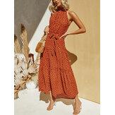 Femmes Maxi Vintage Polka Dot Imprimer Halter Sans manches Vacances Maxi Robes
