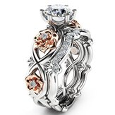 Zircon Tergabung Rose Gold Flower Heart Set Cincin Platinum