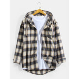 Original              Mens Vintage Plaid Hooded Long Sleeve Shirts With Chest Pocket