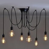 E27 1/2/3/4/5/6/7/8 Heads 1.2M Ethereal Glow Shade Ceiling Chandelier Light Black Wire Pendant Hanging Lampholder 110V-220V
