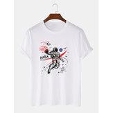 100% bomuldsdesigner Astronaut Print Loose T-shirts med korte ærmer