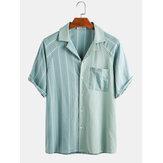 Hommes 100% coton rayé patchwork poitrine poche vacances chemises décontractées