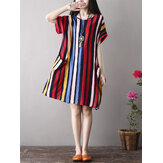 Women Color Stripe Side Pockets Short Sleeve Dress