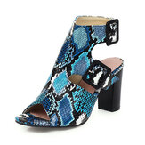 Women Casual Solid Color Snake Pattern Buckle Chunky Heels Stripe Sandals