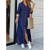 Casual Loose Button Front Irregular Split Hem Denim Maxi Shirt Dress with Front Pockets