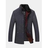 Мужские однобортные пальто из искусственного меха с воротником из искусственного меха, повседневные шерстяные тренчи