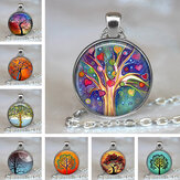 Vintage Geometric Round Tree Of Life Gemstone Pendant Necklace Metal Colorful Glass Printed Jewelry Unisex