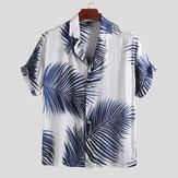 Mens Palm Leaf Printed Summer Casual Vacation Hawaiian Shirt