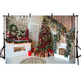 Christmas Tree Stairs Photography Backdrops Wood Floor Fireplace Background Cloth For Photo Studio Backdrop