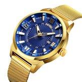 SKMEI 9166 Gouden Kast Zakelijke Stijl Heren Polshorloge Milan Roestvrij Staal Quartz Horloges