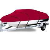 210D 11-22FT Heavy Duty Boat Cover Waterdicht Stofdicht Trailerable Vissen Ski Bass V-Hull Runabouts Red