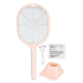 2 In1 Electric Mosquito Swatter Wiht Light Light 3-Layer Protective Net Light USB Rechargeable Handheld Anti Insects Zapper