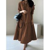 Plus Size Women Pure Color V-Neck Ruffle Long Sleeve Plain Maxi Dresses