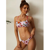 Butterfly Print Criss-Cross String Backless Bikini Beach Swimwear