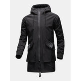 Heren Zip Front Loose Mid-Length Waterproof Drawstring Hooded Outdoors Jackets