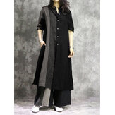 Women Cotton Contrast Color Stripe Patchwork Split Design Long Shirts