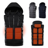 TENGOO 9 Areas Heating Jackets Unisex 3-Gears Heated Vest Coat USB Electric Thermal Clothing Hooded Vest Winter Outdoor Warm Clothing