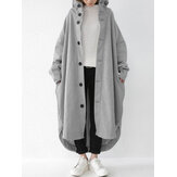 Women Solid Color Button Down Front Pocket Mid-Calf Length Hoodie Jacket