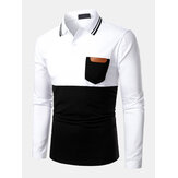 Mens Contrast Color Stitching Cowhide Chest Pocket Long Sleeve Golf Shirts