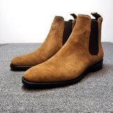 Męskie skórzane botki Chelsea Boots Dress Formalne Casual Business High Top Slip On Shoes