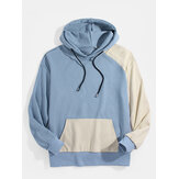 Mens Patchwork Solid Color Kangaroo Pocket Drop Shoulder Hoodies