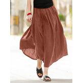 Saia casual sólida de algodão elástico com cintura pregueada emendada para mulheres