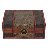 Red Vintage Retro Hoa Khắc Đồ trang sức bằng gỗ Quà tặng Thu thập Hộp Chủ