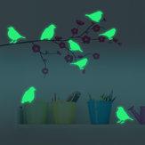 8PCS Honana Fluorescente Brilho Birds Wall Sticker Home Decor Quarto