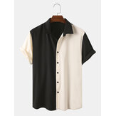 Men Designer Solid Color Patchwork Short Sleeve Casual Shirts