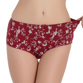 Cotton Floral Printing Mid Waist Full Hip Breathable Panties