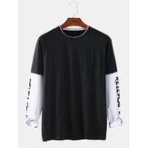 100% Cotton Side Letter Print Patchwork Doctor Sleeve Loose T-Shirts